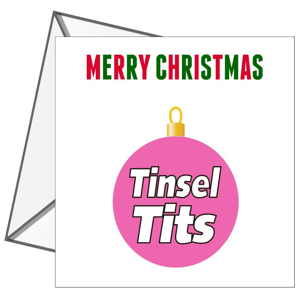 Christmas Card Rude Adult Cheeky Funny Humour Joke Merry Xmas Tinsel