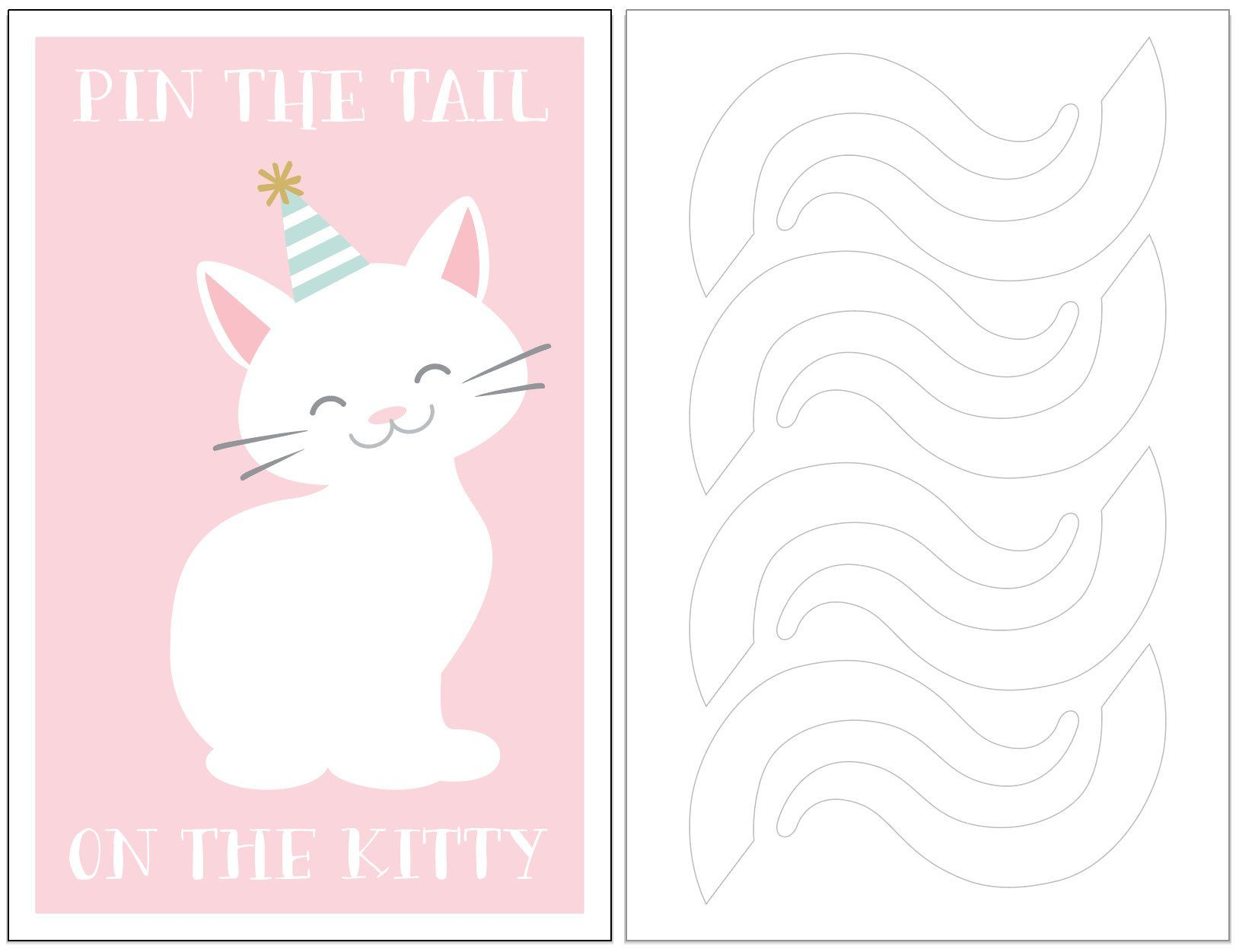 INSTANT DOWNLOAD Pin the Tail on the Kitty Cat birthday