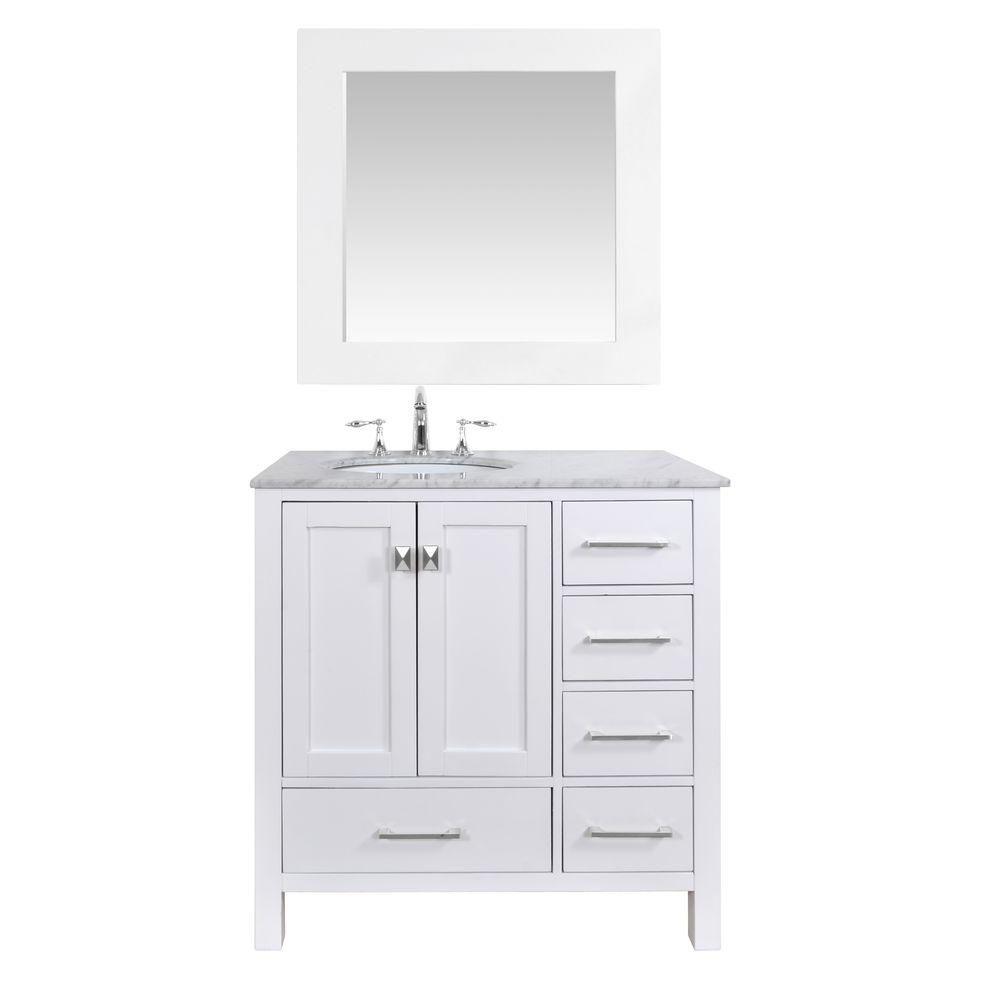 Stufurhome Malibu 36 In Vanity In Pure White With Marble Vanity Top
