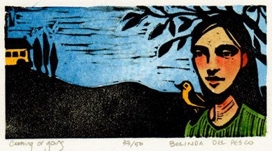 Coming or going Woman with Bird-linocut- Belinda Del Pesco