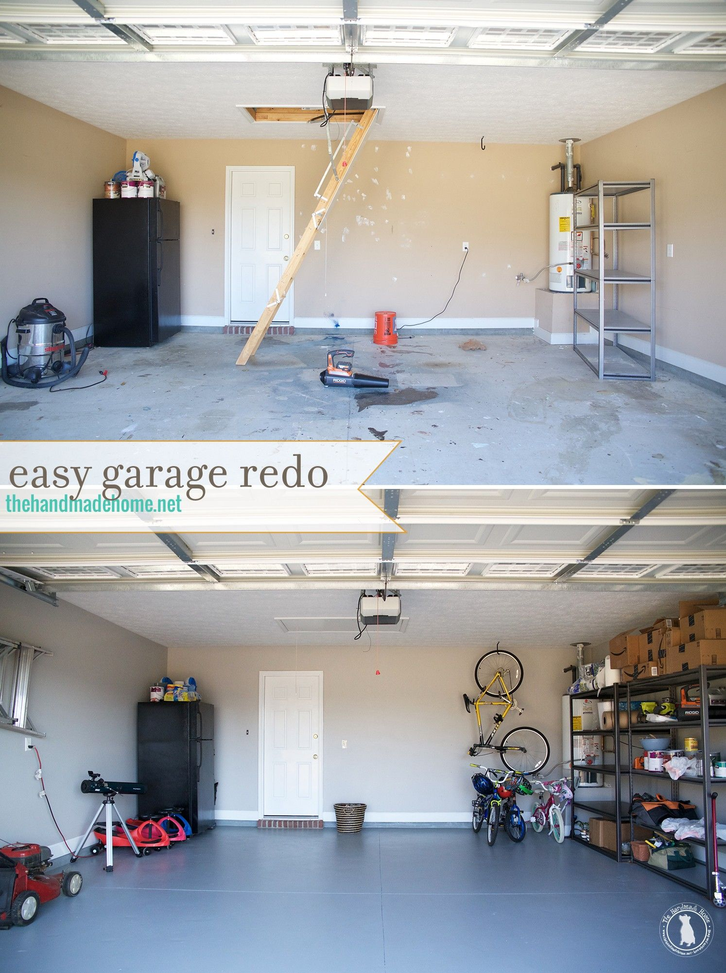 how to refinish your garage floor {the spray paint grenade