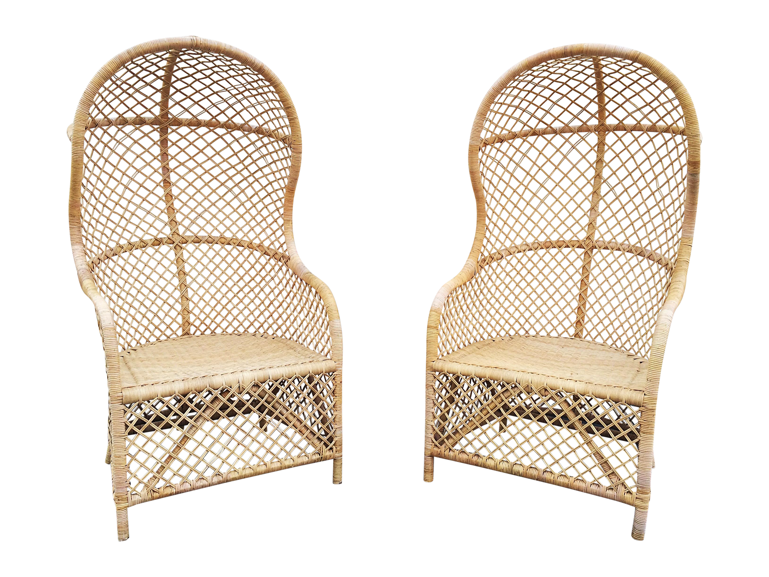 Superb Image Of Rattan Canopy Chairs   A Pair
