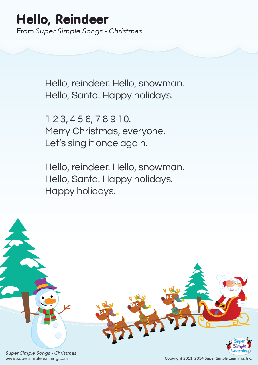 Hello Reindeer Lyrics Poster Super Simple Christmas Songs For Kids Preschool Christmas Songs Christmas Poems