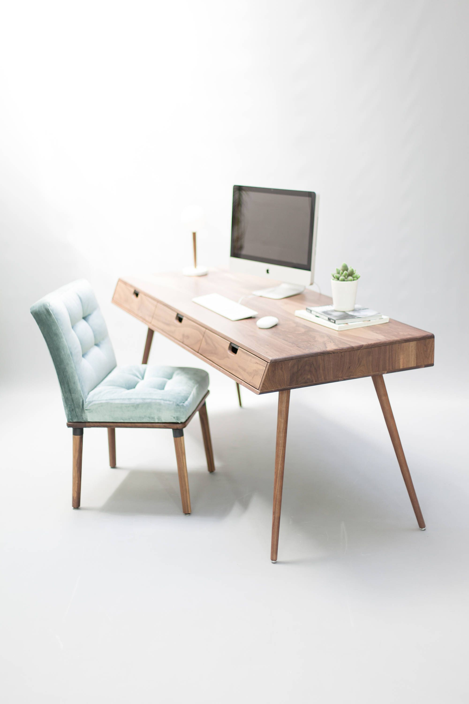Desk In Walnut Oak Wood Bureau Dressing Table Office Desk Mid Century Tantik Study Table Designs Wayfair Furniture Table