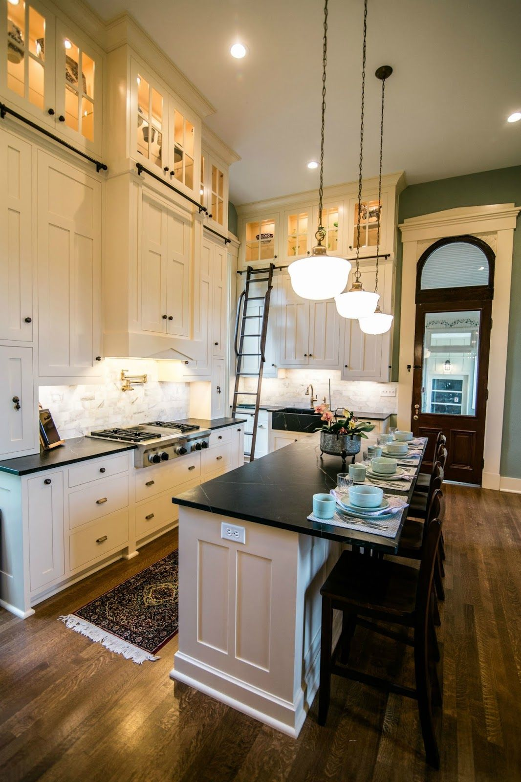 Kitchen make overs  historic house kitchen remodel  LOVE the ladder and way tall