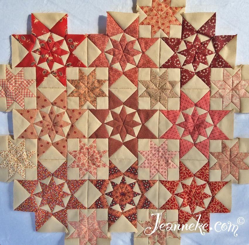 First nine blocks of my Alabama Star quilt, free pattern at http ... : hexagon star quilt pattern free - Adamdwight.com