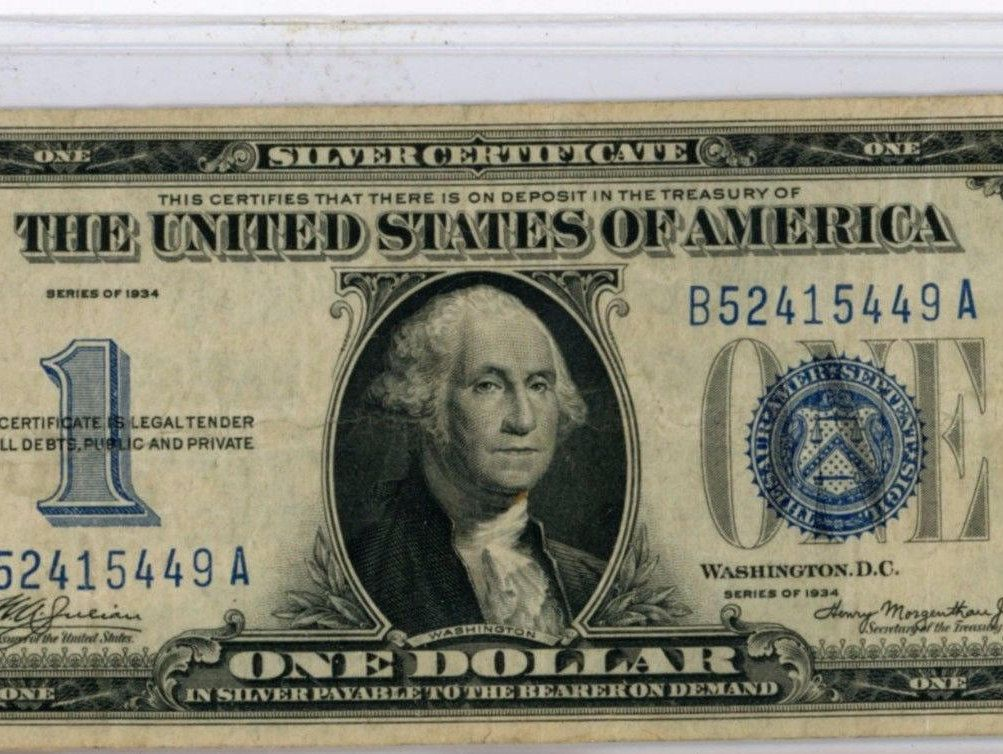 1934 100 Blue Seal Silver Certificate Good Condition Vintage