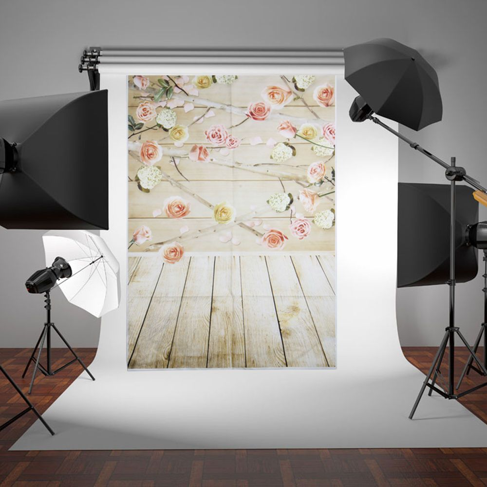 3x5ft flower wood wall vinyl background photography photo studio props - Wood Wall Pink Flower Photography Backdrop Background Studio Photo Props 3x5ft