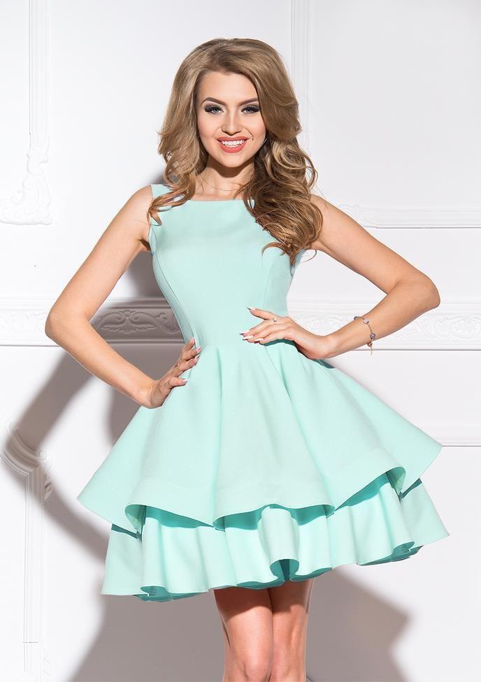 683af82574 Mini Sukienka z Podwójna Falbaną Miętowa SHE21