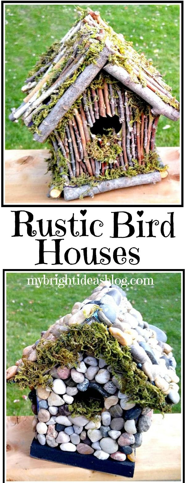 Rustic BirdHouse - Twigs and Moss #birdhouses