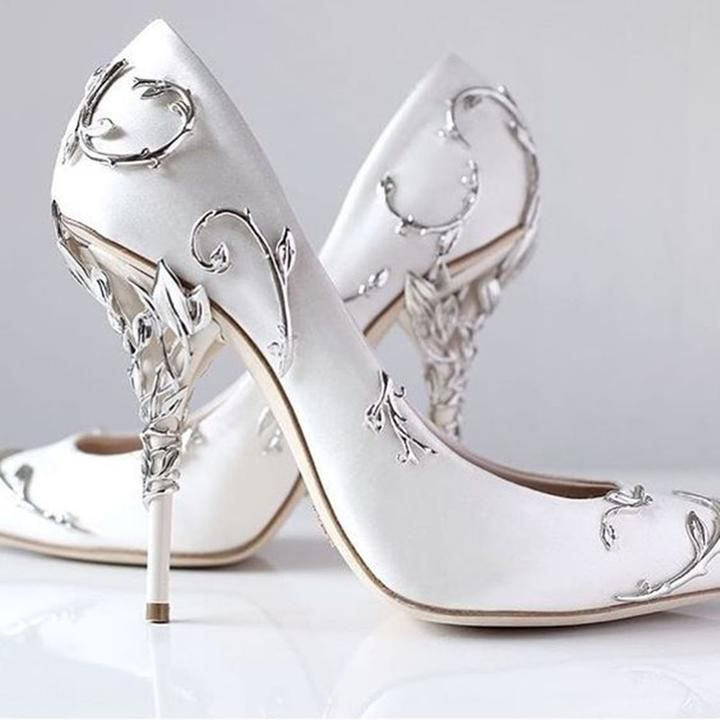 Unique And Oh So Beautiful White Bridal Shoe With Ornate Detailing Throughout Shoe And Heel A Beautiful Choice F Pointed Toe Shoes Wedding Shoes Couture Heels