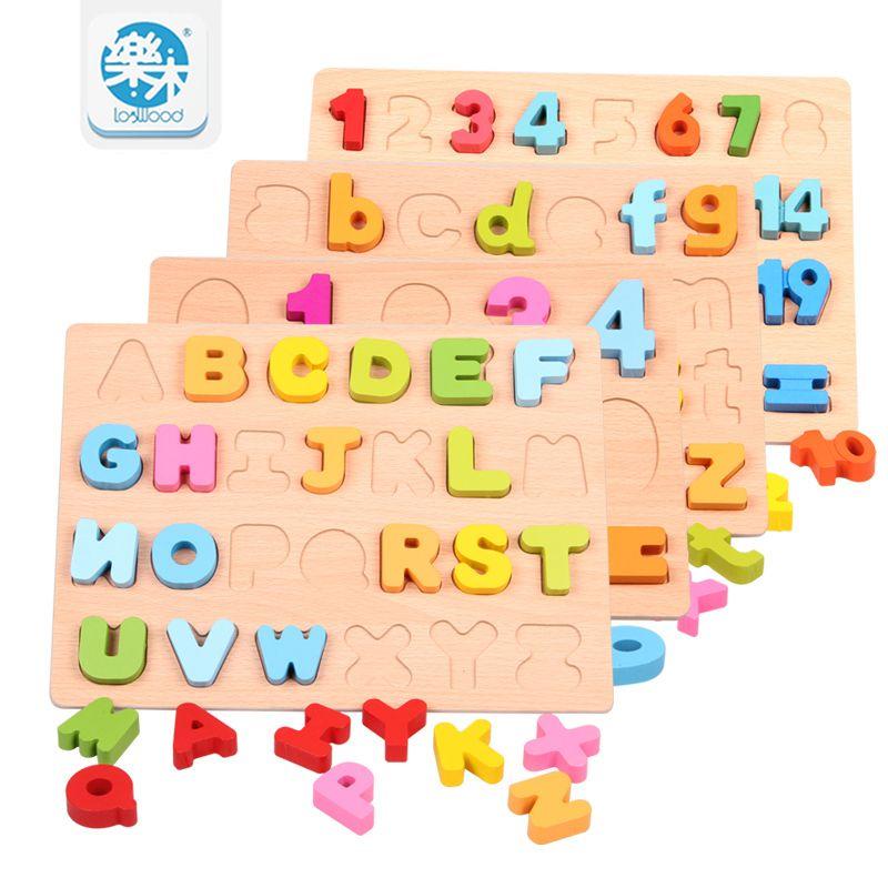 Baby toys Wooden 3D Puzzle toys English alphabet digital ...