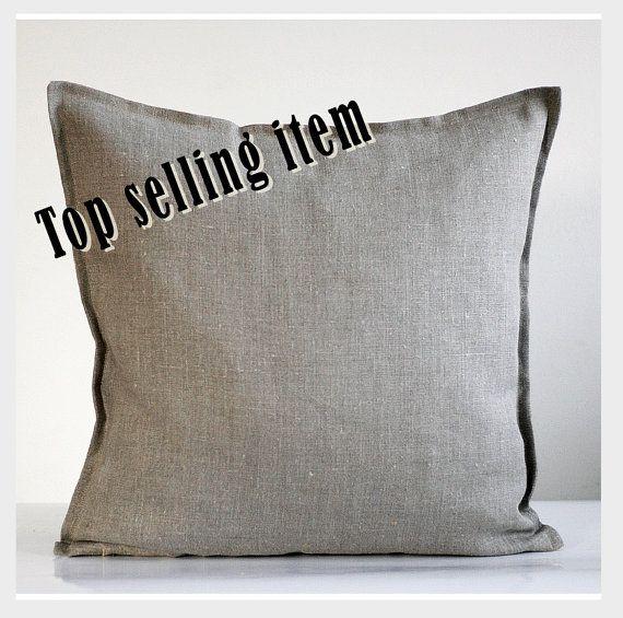Linen pillow case - natural fabric pillow cover - grey - decorative covers - throw pillows - shams