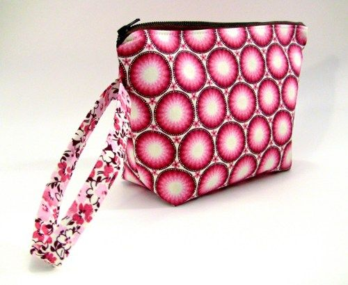 Wristlet Zippered Pouch - Clutch - Makeup Bag - Pink and Brown Circles | UnexpectedTreasure - Bags & Purses on ArtFire