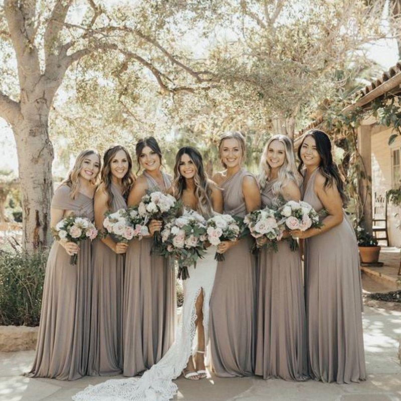 Maxi Convertible Dress Mushroom Taupe Bridesmaid Winter Bridesmaid Dresses Taupe Bridesmaid Dresses