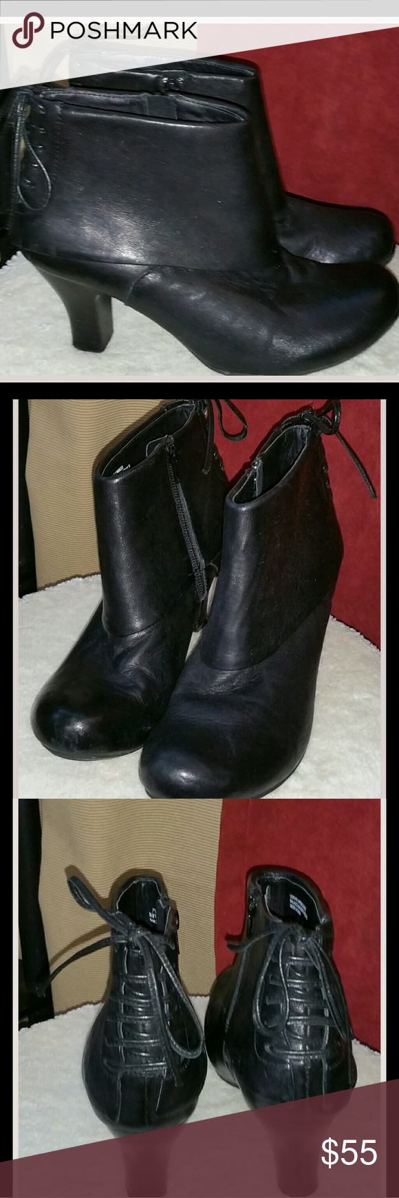 """Clarks Leather Boots Clarks Black Leather heeled Booties. Very stylish, rounded toe, 2"""" heel, with Leather ties in the back . Zipper on the inside of the boot. Clarks Shoes Heeled Boots"""