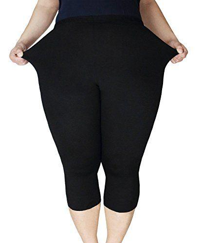 0e653b78992232 American Trends Womens Plus Size Stretch Modal 34 Smooth Capri Leggings FBA  Black 3XL Plus