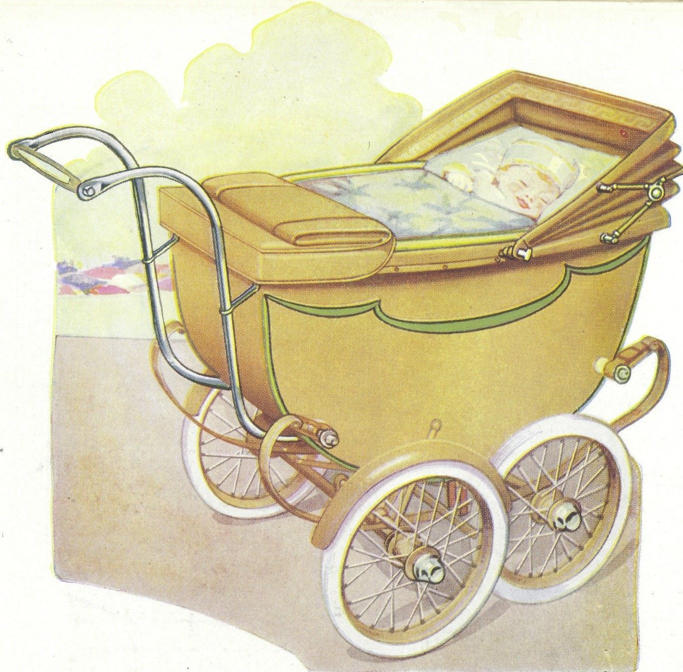 This wonderful Silver Cross pram appeared in one of our brochures from the 1930s. It's shown in Champagne with a Liberty Green trim.