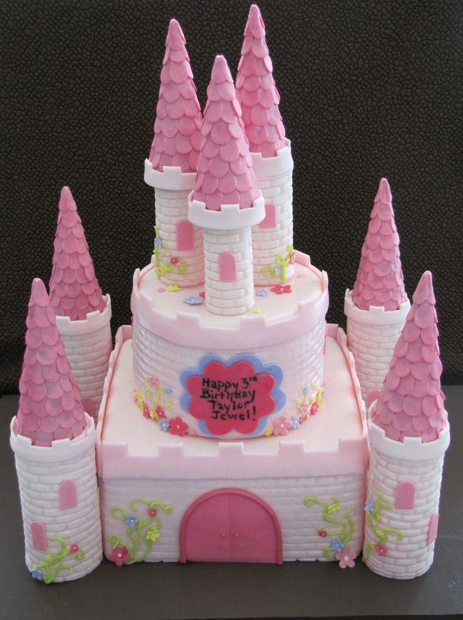 Excellent Pink Castle Cake Childrens Birthday Cakes Castle Cake Castle Personalised Birthday Cards Petedlily Jamesorg