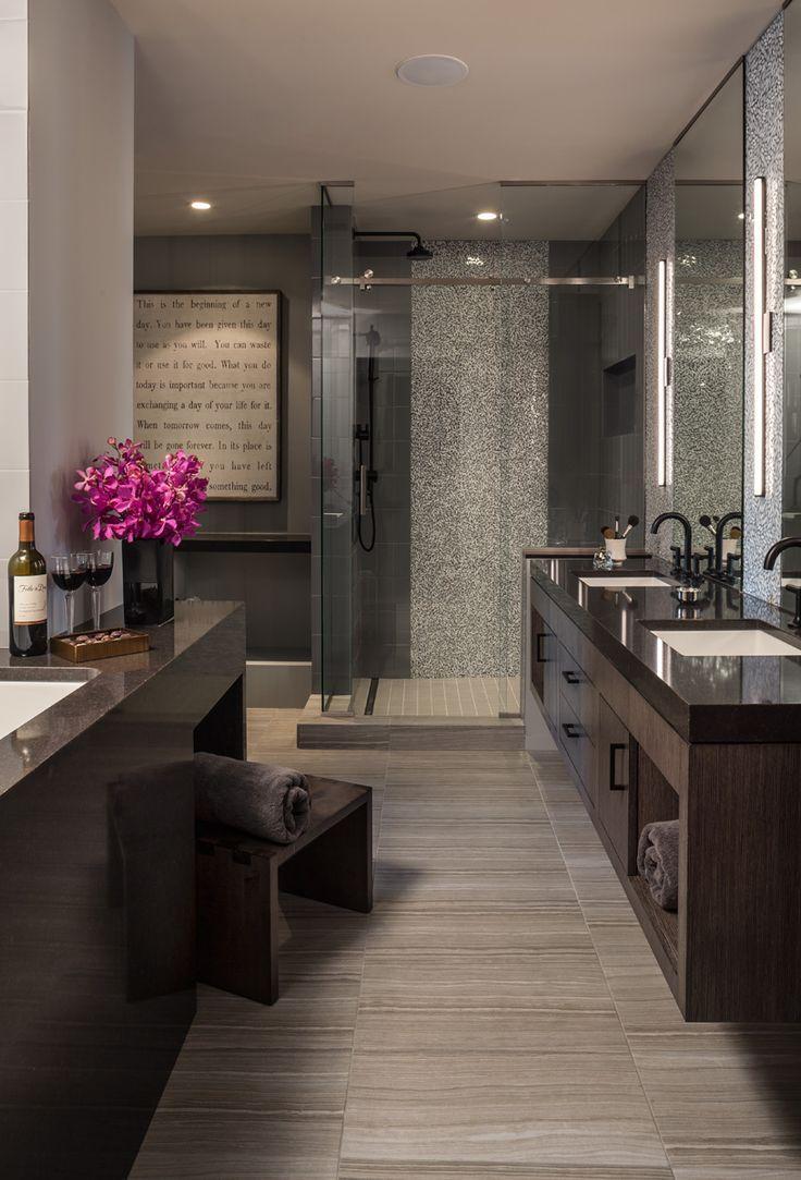 Bathroom how to decorate powder bathroom ideas luxury powder bathroom - Floating Vanity In Luxury Condominium Master Bath With Gray Color Palette