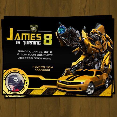transformers birthday invitation bumblebee by splashboxprintables,