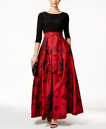 fc63cbe48f28 Jessica Howard Floral-Print Belted Ball Gown - Dresses - Women - Macy s