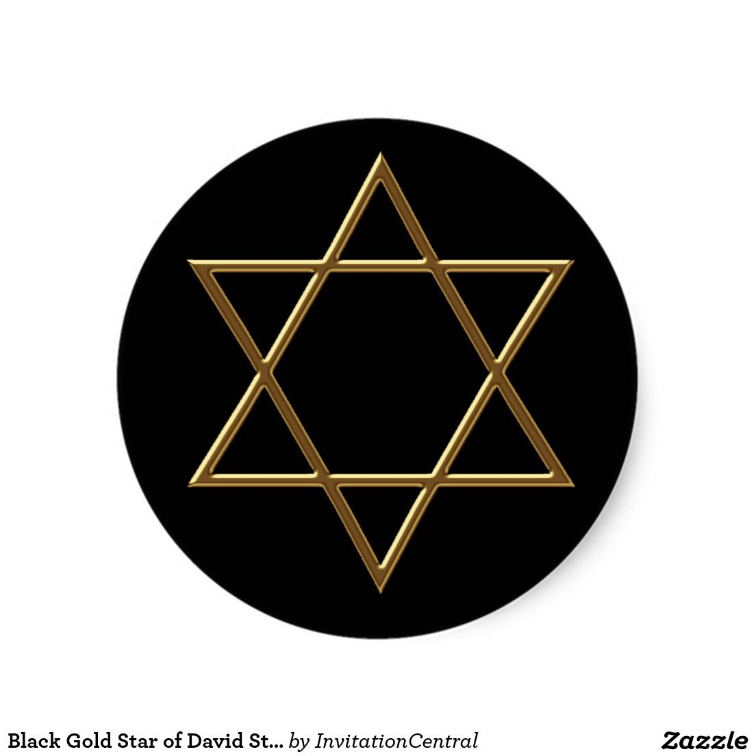 Black Gold Star of David Stickers