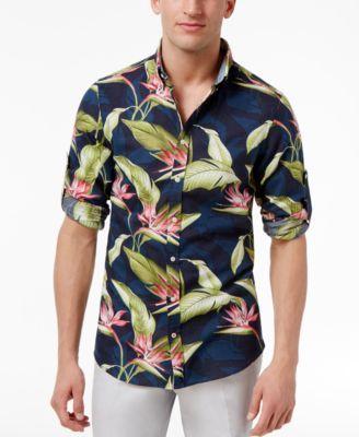 TOMMY HILFIGER Tommy Hilfiger Men'S Paradise Flower Linen Blend Shirt. #tommyhilfiger #cloth #down shirts