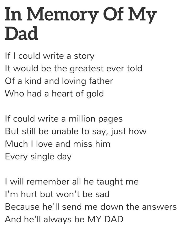 in memory of my dad poems dads poem and grief in memory of my dad