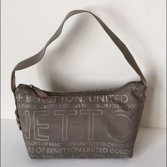 United Colors of Benetton Handbag Small handbag with inside zip pocket and  1 slide pocket. Color  Olive brown. 100% Polyester. Measurements approx   10