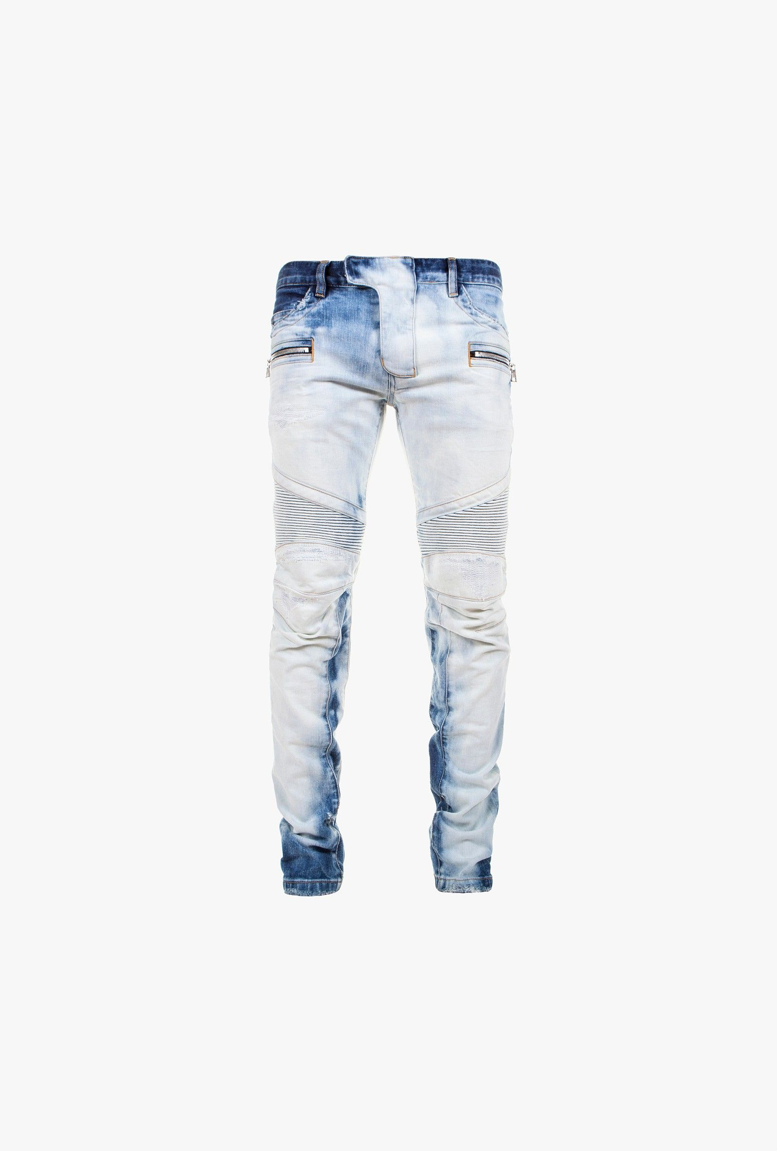 c4e53e93 Balmain - Slim-fit stretch bleached cotton biker jeans - Men's jeans ...