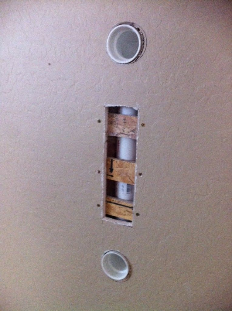 nice pvc piping for hiding flat screen wires at storiesofahouse.com ...