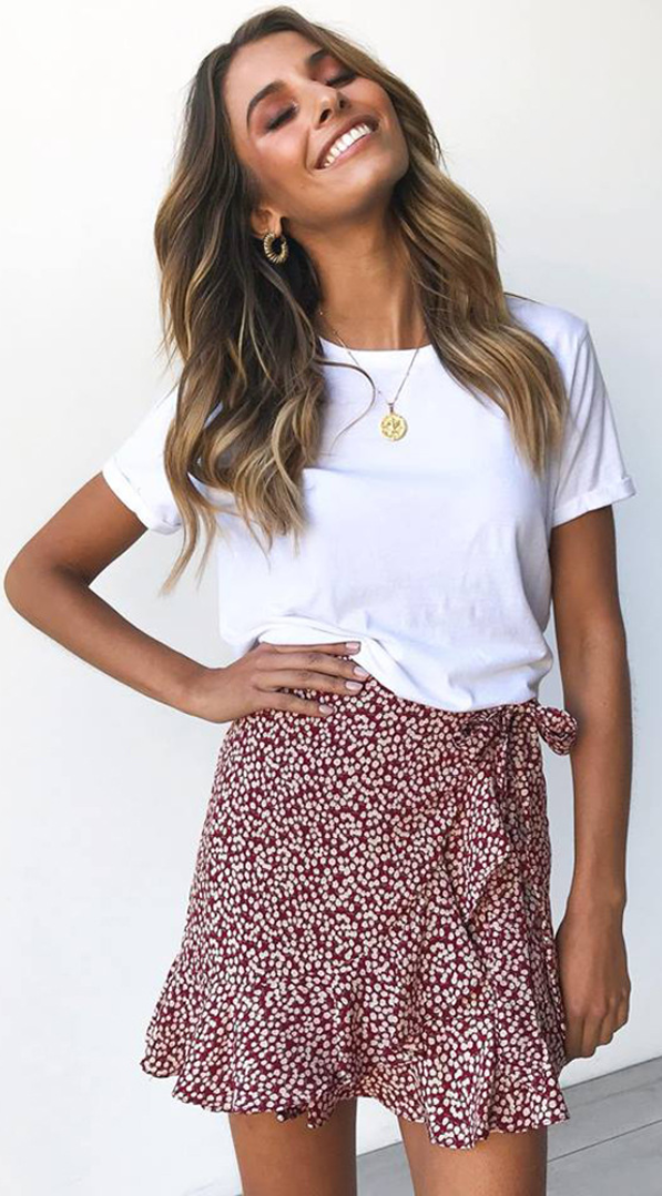 #summer skirt Burgundy Floral Bowknot Tulip Skirt