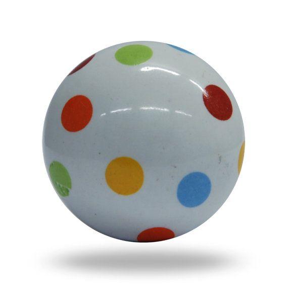 Tuti Fruiti Colorful Ceramic Door Pull Knob, White Round Polka Dot ...