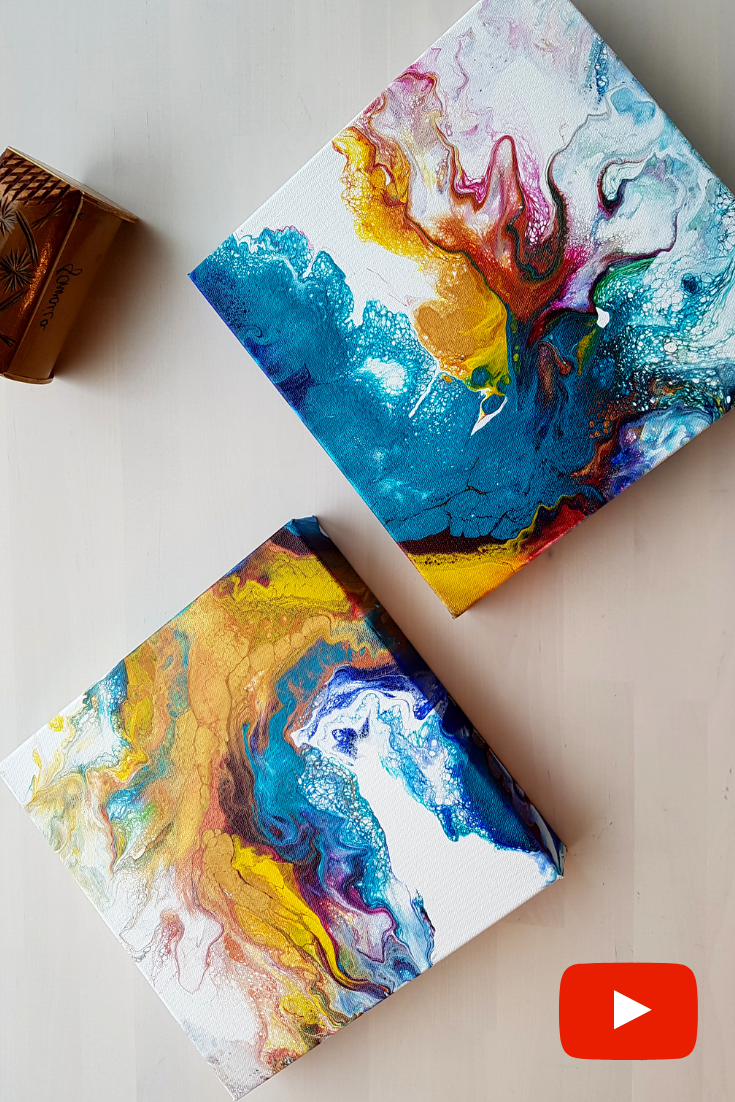 Acrylic Pouring Tutorial Dutch Pour Diptych by Olga Soby