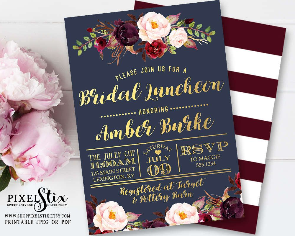 Navy Blue Floral Bridal Luncheon Invitation Gold Foil With Vintage