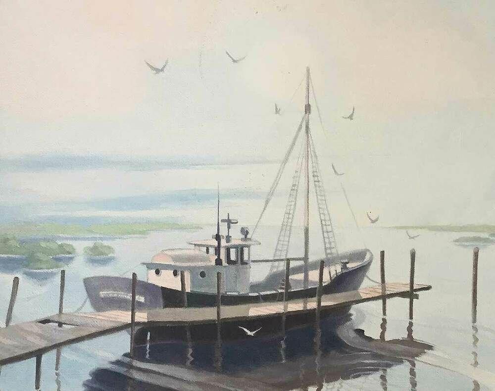 Florida Pine Key Vintage Southern Painting Fishing Trawler W