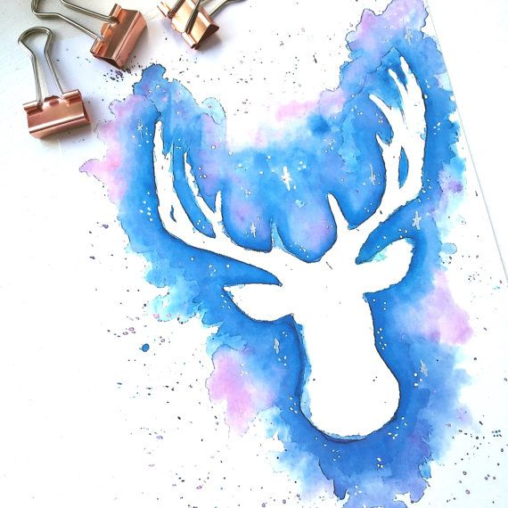 Harry Potter Patronus Stag Watercolour Painting In A4 A5 Prints