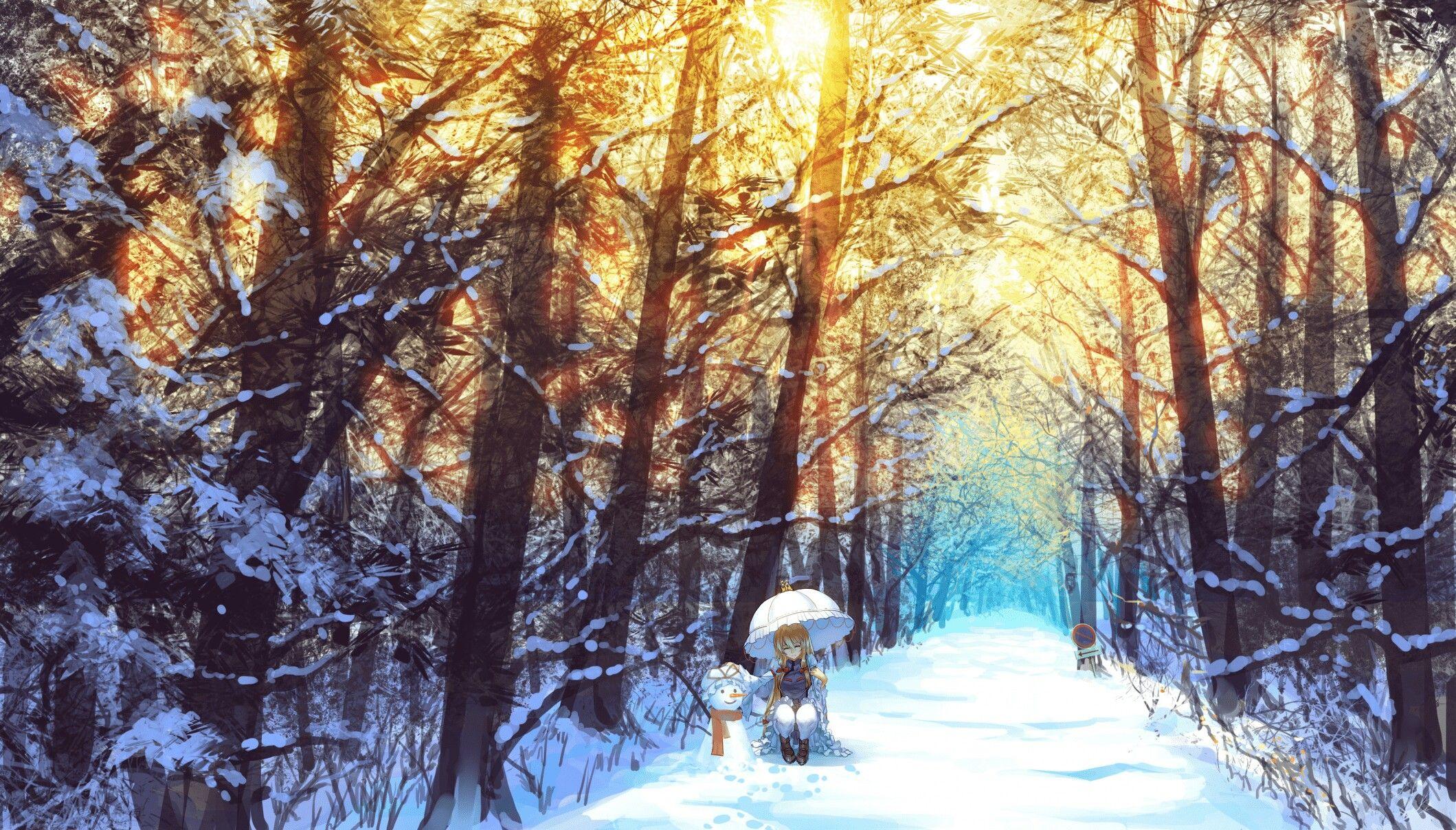 Snowy Forest in 2020 | Anime scenery, Scenery wallpaper ...