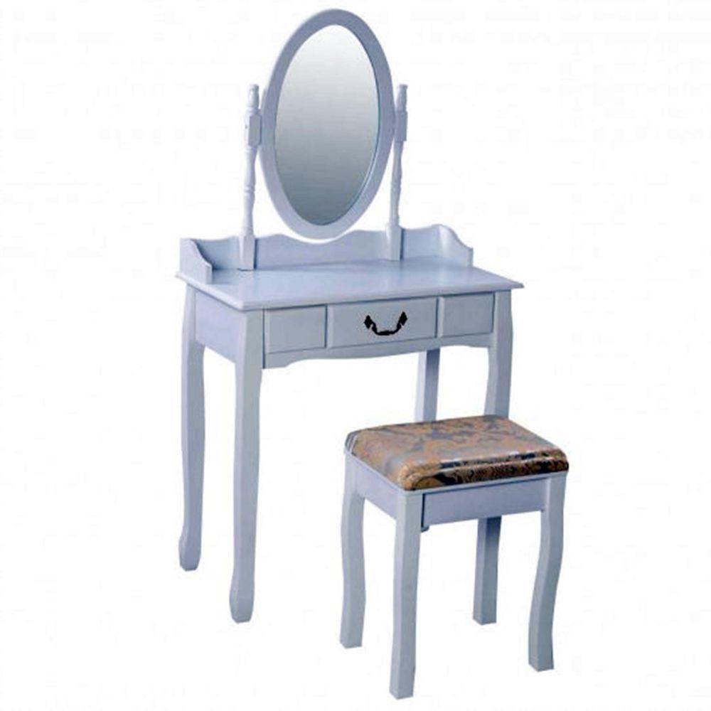 Vintage Vanity White Makeup Dressing Table Rotating Mirror Cushioned Stool Set
