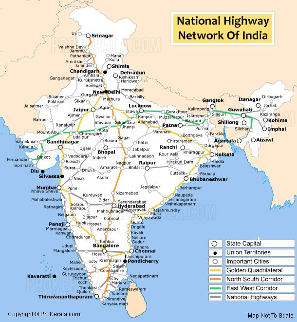 National Highways in India - Golden quadrilateral, North-South and ...