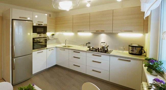 Дизайн Г-образной кухни 10 кв.м в пастельных тонах (12 ...