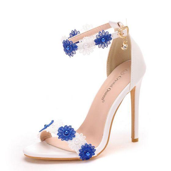 Chic Beautiful White Outdoor Garden Womens Sandals 2020 Pearl Lace Flower 11 Cm Stiletto Heels Open Peep Toe Sandals Stiletto Heels Heels Peep Toe Sandals