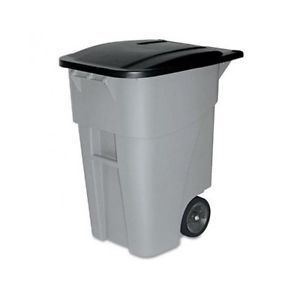 Outdoor Trash Can With Wheels Adorable Outdoorgarbagecanrubbermaid50Gallonwastetrashbinrollout Inspiration Design