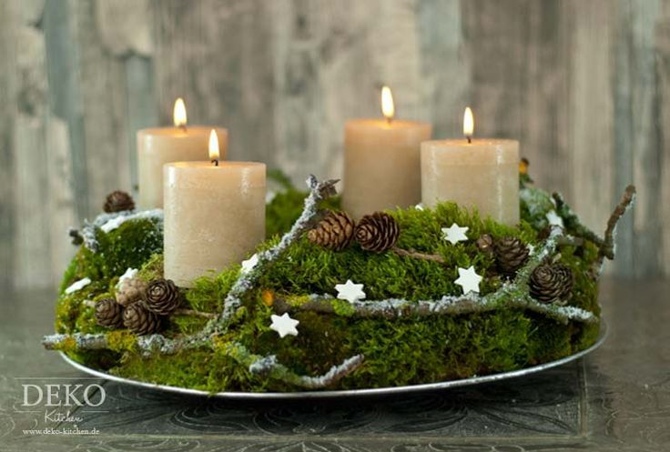 Diy Advent Wreath Made Of Natural Material With Moss Branches