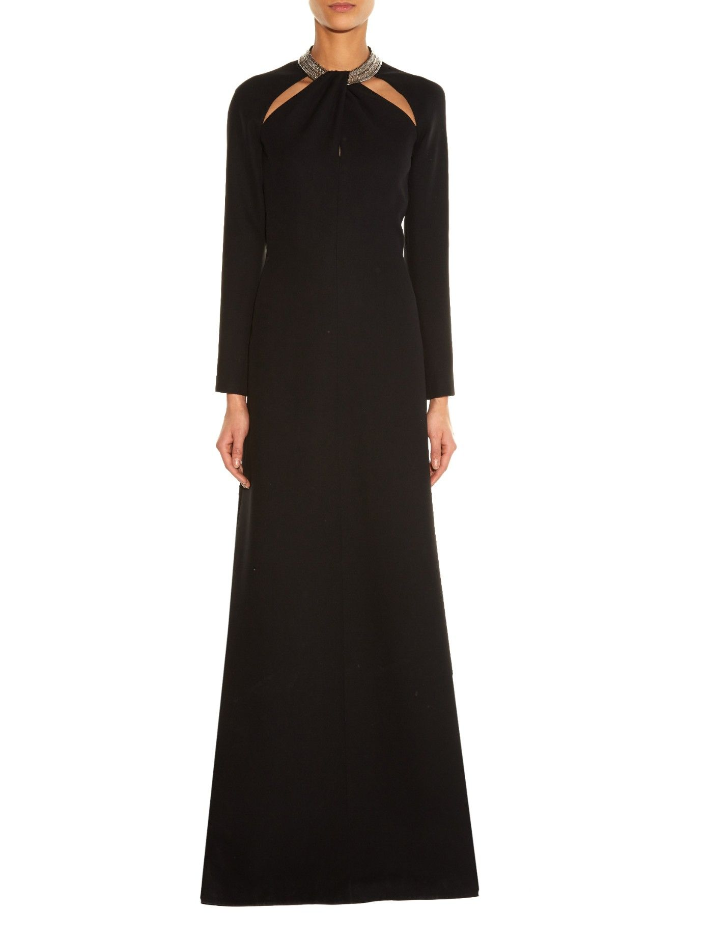 Crystal-embellished twist-neck gown | Saint Laurent | MATCHESFASHION ...