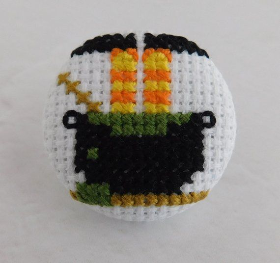 Halloween Witch Pin, Witch In A Cauldron Halloween Pin