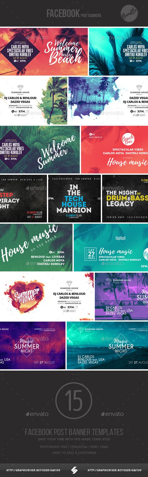 electronic music event facebook post banner templates bundle 4 banner template electronic. Black Bedroom Furniture Sets. Home Design Ideas
