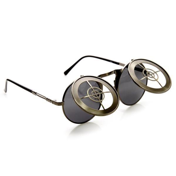 1b19ac8e0a Unique Full Metal Flip Up Bulls Eye Crosshair Target Steampunk Sunglasses  9346 Óculos De Sol Steampunk