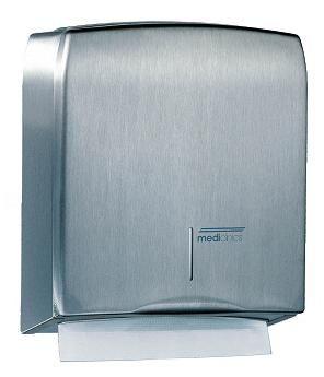 Mediclinics handdoekdispenser RVS DT0106CS. Handdoekdispenser voor wandmontage. Met veerslot en Mediclinics sleutel. Met kijkgleuf voor inhoudscontrole.
